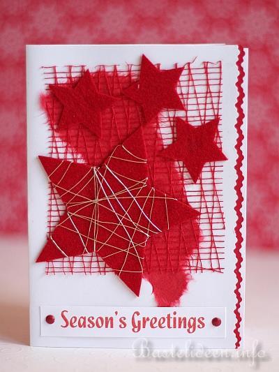 Weihnachtskarten Mit Sternen Basteln.Karte Basteln Fuer Weihnachten Rote Sterne