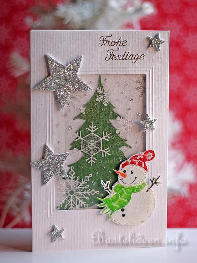 weihnachtskarten basteln schneemann mit stern. Black Bedroom Furniture Sets. Home Design Ideas