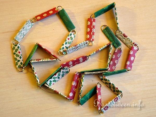 Weihnachtsbasteln mit papier girlande aus scrapbookpaper - Weihnachtsgirlande basteln ...