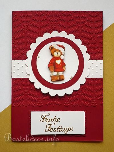 Weihnachtskarten basteln frohe festtage karte mit b r - Niedliche weihnachtskarten ...
