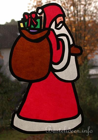 basteln mit papier  weihnachtsmann fensterbild b