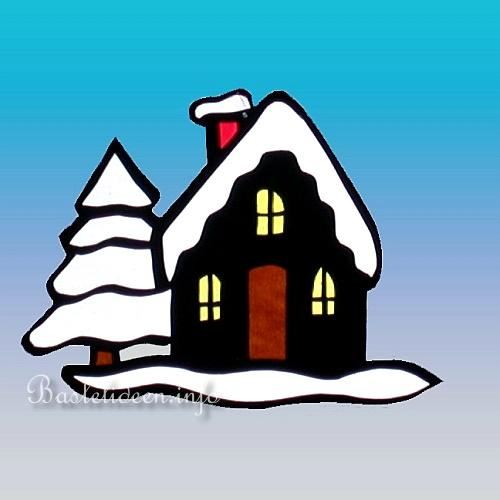 Basteln mit Papier - Winterliches Fensterbild mit Haus und Baum
